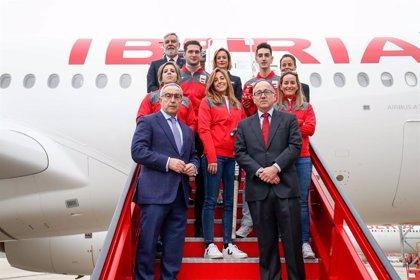 """Iberia y el COE presentan el avión """"sostenible"""" que llevará al equipo olímpico español a Tokyo 2020"""