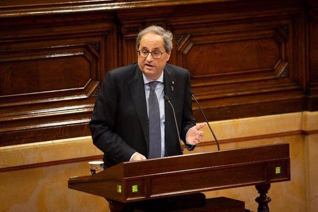 El president de la Generalitat, Quim Torra, durant la seva intervenció en la sessió de control del Parlament