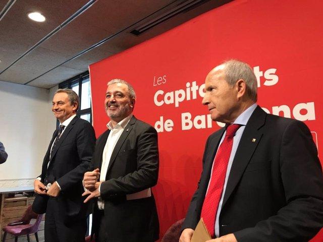 El expresidente del Gobierno José Luís Rodriguez Zapatero; el líder del PSC en Barcelona, Jaume Collboni y el expresident de la Generalitat José Montilla en la jornada 'Les capitalitat de Barcelona'