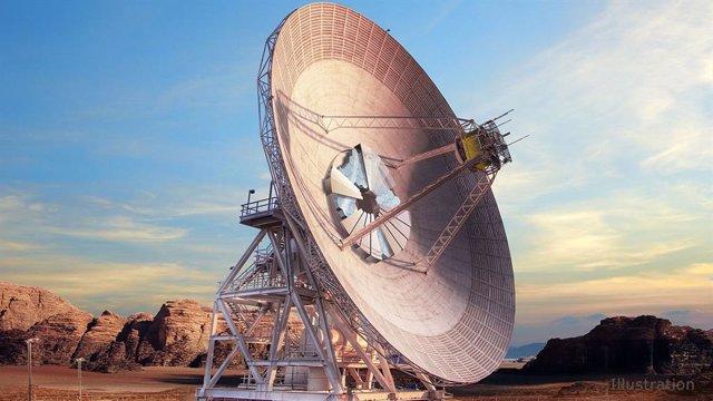 Concepto artístico de la nueva antena de la red DSN