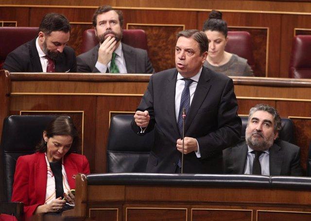El ministro de Agricultura, Pesca y Alimentación, Luis Planas, responde a las preguntas durante la primera sesión de control al Gobierno en la XIV Legislatura, en el Congreso de los Diputados, en Madrid (España), a 12 de febrero de 2020.