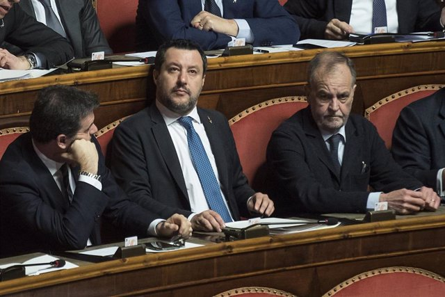 Matteo Salvini en el Senado italiano