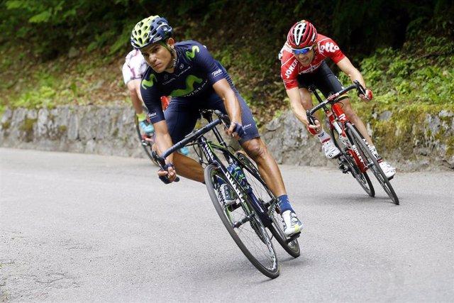 Andrey Amador durante el Giro de Italia de 2015 con el Movistar Team