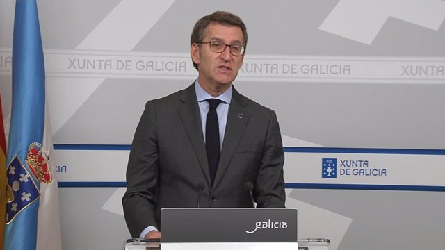 El presidente de la Xunta de Galicia, Alberto Núñez Feijóo, en la rueda de prensa donde ha justificado la decisión de adelantar las elecciones gallegas al 5 de abril.