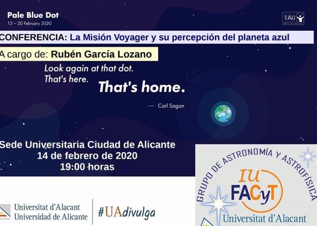 Cartel de las sesiones de recuerdo del 30 aniversario de la imagen del Pálido Punto Azul organizado por la UA.