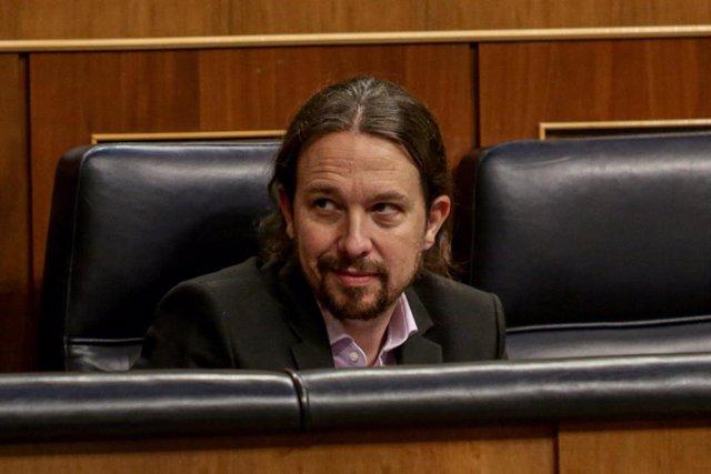 El vicepresidente segundo y ministro de Derechos Sociales y Agenda 2030; Pablo Iglesias, en el Congreso
