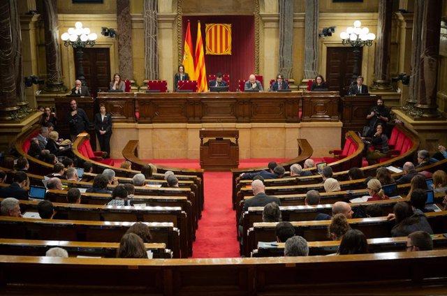 Hemicicle del Parlament de Catalunya durant una sessió plenària, a Barcelona /Catalunya (Espanya), 11 de febrer del 2020.