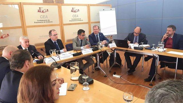 El secretario General de Empresa, Innovación y Emprendimiento de la Consejería de Economía, Manuel Ortigosa, interviene ante las comisiones de Agenda Digital y Economía del Conocimiento de la CEA.