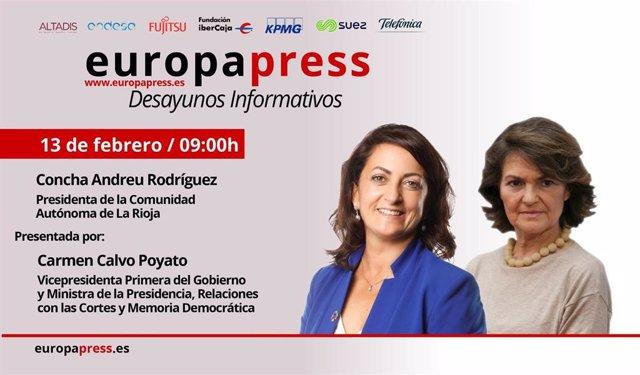 La presidenta del Gobierno riojano, Concha Andreu, participa en un Desayuno Informativo de Europa Press presentado por la vicepresidenta primera del Gobierno Central, Carmen Calvo