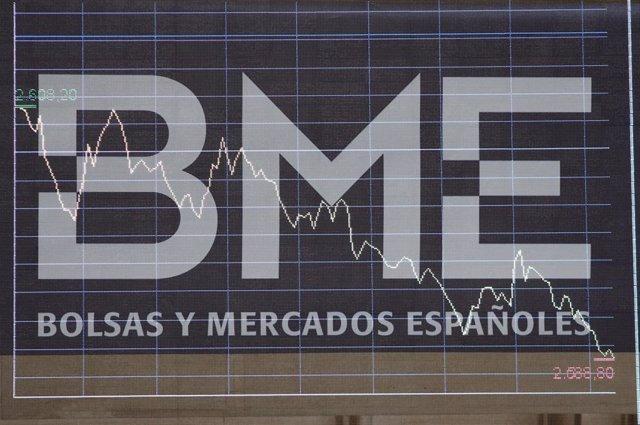 Panel de Bolsas y Mercados Españoles (BME) en un gráfico del interior del Palacio de la Bolsa de Madrid, edificio de 1893, en Madrid, a 11 de octubre de 2019.