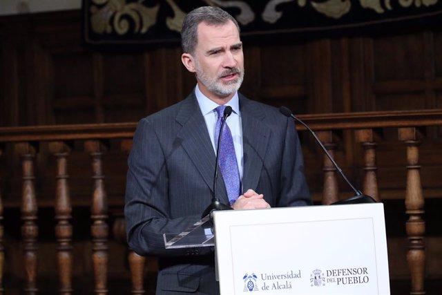 El rei Felip VI durant la seva intervenció en l'acte de lliurament del VIII `Premi de Drets Humans Rei d'Espanya, 12 de febrer del 2020.