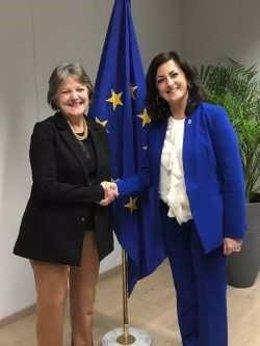La presidenta del Gobierno de La Rioja, Concha Andreu, mantiene una reunión con la comisaria de Cohesión y Reformas, Elisa Ferreira, esta tarde en la Comisión Europea.