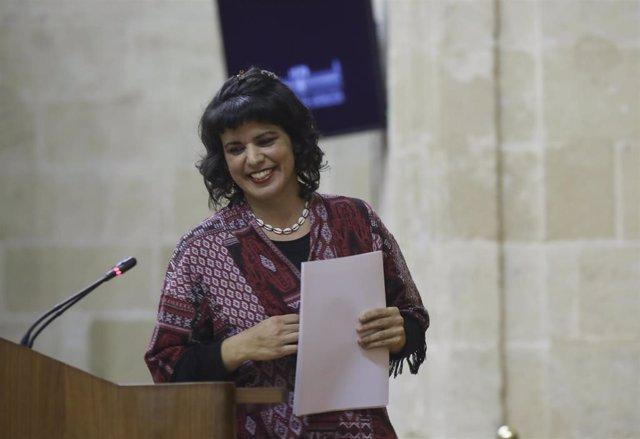 Segunda sesión del Pleno extraordinario del Parlamento andaluz para informar sobre el Estado de la Comunidad Autónoma. Intervención de la líder de Adelante Andalucía, Teresa Rodríguez. En el Parlamento de Andalucía, a 28 de enero de 2020.