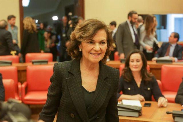 La Vicepresidenta Primera del Gobierno y Ministra de la Presidencia, Relaciones con las Cortes y Memoria Democrática, Carmen Calvo, a su llegada a la Comisión Constitucional del Congreso