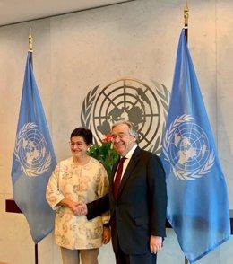 La ministra de Asuntos Exteriores, Arancha González Laya, se reúne con el secretario general de la ONU, el portugués António Guterres