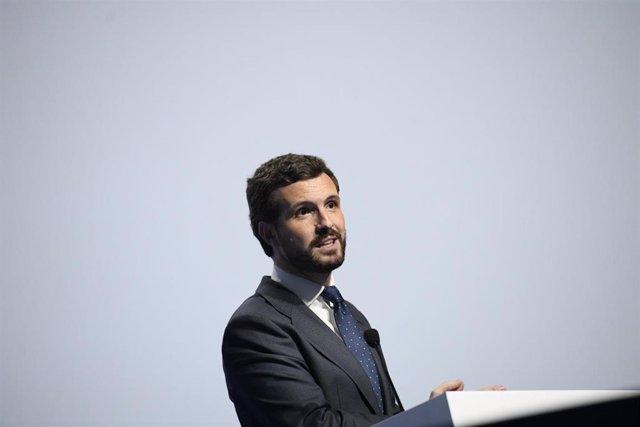 El presidente del PP, Pablo Casado, durante su intervención en la jornada inaugural del Congreso Nacional de la Distribución de la Automoción, en Madrid (España), a 5 de febrero 2020.
