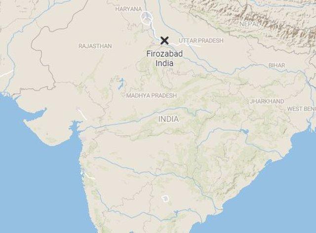 Mapa de Firozabad, en el estado de Uttar Pradesh, en el norte de India, donde ha tenido lugar el accidente