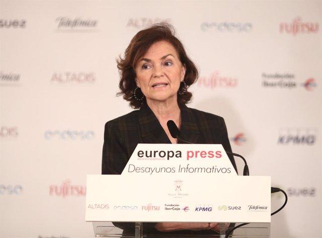 La Vicepresidenta Primera del Govern i Ministra de la Presidència, Relacions amb les Corts i Memòria Democràtica, Carmen Calvo, durant la seva intervenció en un esmorzar informatiu d'Europa Press, a Madrid (Espanya), a 13 de febrer de 2020.
