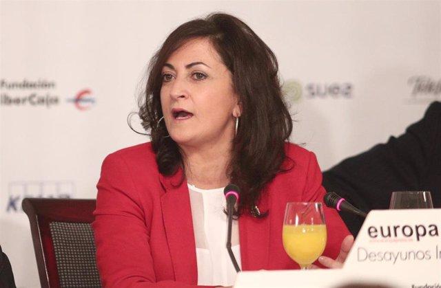 La presidenta de la Comunidad de La Rioja, Concha Andreu, durante un desayuno informativo de Europa Press, en Madrid (España), a 13 de febrero de 2020.