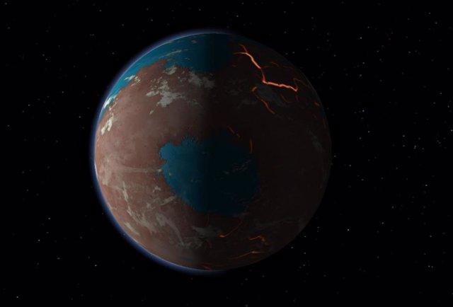 Ilustración del aspecto probable del Marte temprano
