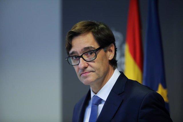 El ministre de Sanitat, Salvador Illa, durant la roda de premsa posterior a la reunió ministerial d'avaluació i seguiment del coronavirus, Madrid (Espanya) 1 de febrer del 2020.