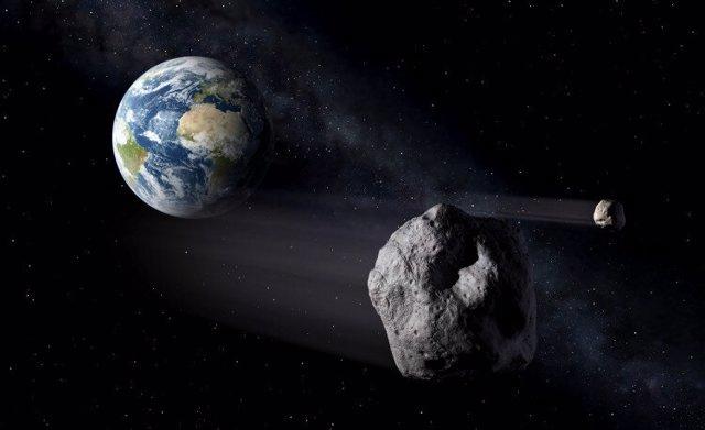 Impresión artística de dos objetos cercanos a la Tierra