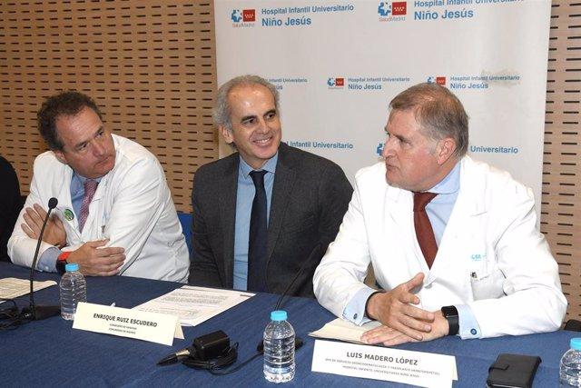 El consejero de Sanidad de la Comunidad de Madrid, Enrique Ruiz Escudero, asiste a la presentación de los datos de la Unidad de Supervivientes de Cáncer Infantil a largo plazo del Hospital Niño Jesús