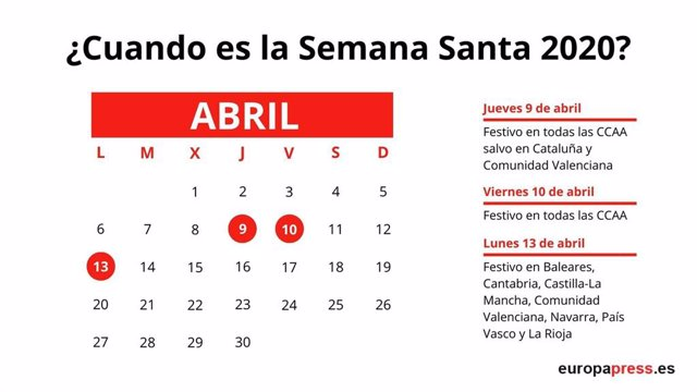 Días festios en Semana Santa