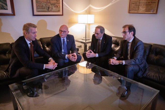 (E-D) El director general de GSMA, Mats Granryd; el conseller delegat de GSMA John Hoffman; el president de la Generalitat, Quim Torra i el president del consell d'administració de Fira Barcelona, Pau Relat, a 13 de febrer del 2020.
