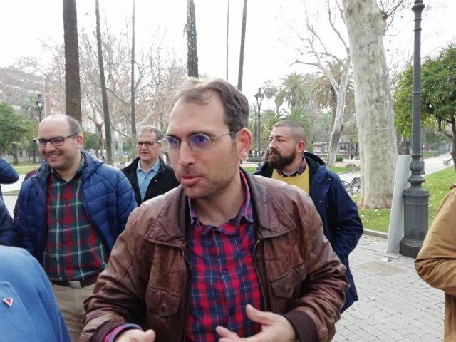 El coordinador general de IU Andalucía y portavoz de Adelante Andalucía, Toni Valero, en Córdoba.
