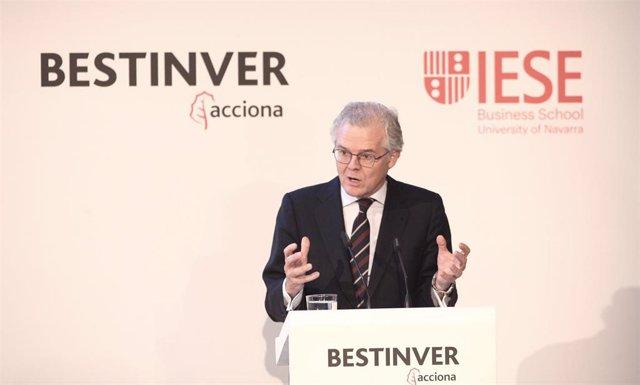 El presidente de la Comisión Nacional del Mercado de Valores (CNMV), Sebastián Albella, durante su intervención en la inaguración del Encuentro Informativo: II Observatorio del Ahorro y la Inversión en España.