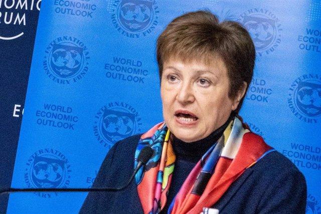 HANDOUT - 20 January 2020, Switzerland, Davos: Kristalina Georgieva, Managing Director of the International Monetary Fund (IMF), speaks during a press conference on the IMF World Economic Outlook Update. Photo: Greg Beadle/World Economic Forum/dpa - ATTEN