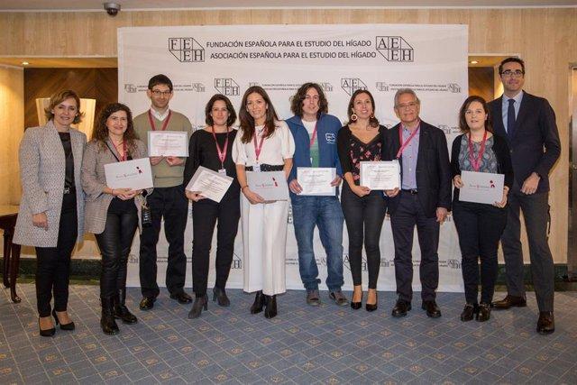 """Premiados de la """"II Edición de las Becas a Proyectos de Microeliminación en Hepatitis C"""" de Gilead entregadas hoy en el marco del 45 Congreso Anual de la Asociación Española para el Estudio del Hígado (AEEH)."""
