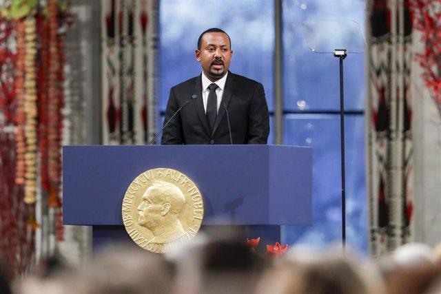 El primer ministro etíope, Abiy Ahmed, durante su discurso al recoger el Nobel de la Paz