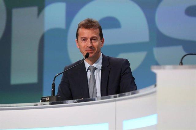 El consejero delegado de Airbus, Guillaume Faury durante la presentación de resultados de 2019.  Photo: Manuel Blondeau/Zuma Press/dpa