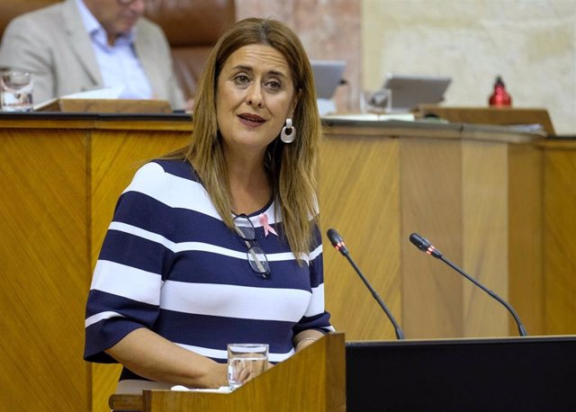 La diputada del PSOE-A Sonia Gaya defendiendo en la tribuna una PNL del PSOE-A