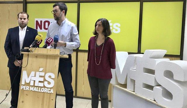 El coordinador de MÉS per Mallorca, Antoni Noguera, en la rueda de prensa.