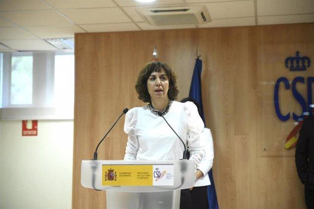 La presidenta del Consejo Superior de Deportes (CSD), Irene Lozano, durante su toma de posesión del cargo.