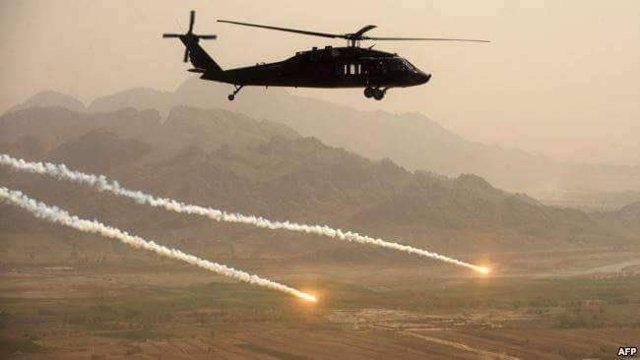 Un helicóptero en una operación de las Fuerzas Armadas afganas