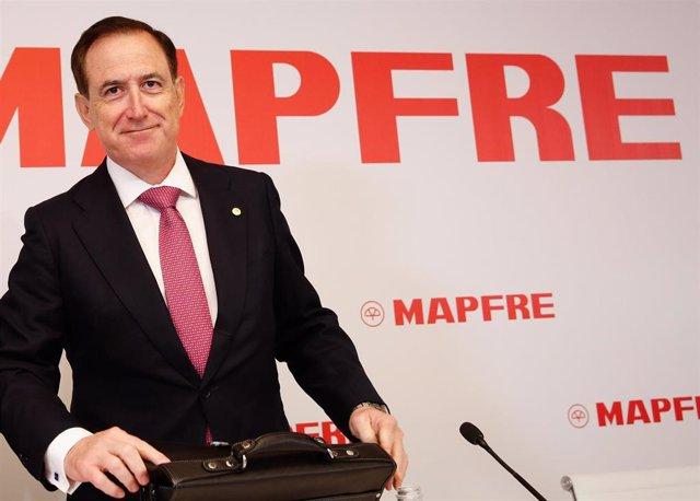 El presidente de Mapfre, Antonio Huertas, durante la presentación de resultados anuales de 2019.