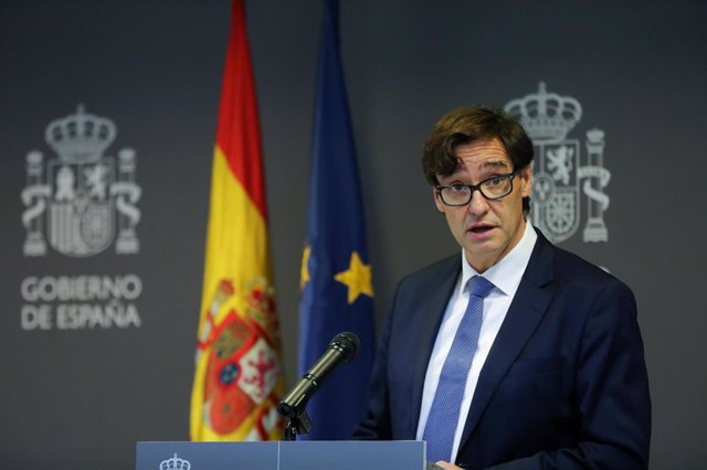 El ministro de Sanidad, Salvador Illa, durante la rueda de prensa posterior a la reunión ministerial de evaluación y seguimiento del coronavirus, en Madrid (España) a 1 de febrero de 2020.