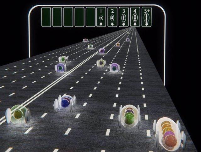 Los Grupos De Electrones Que Bajan Por La Carretera Superconductora Representan El Movimiento De La Serie De Conductancia Pascal