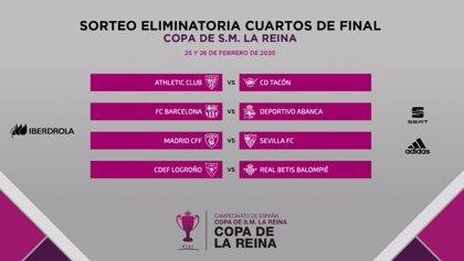 Athletic-Tacón, Barça-Deportivo, Madrid-Sevilla y Logroño-Betis, cuartos de Copa de la Reina