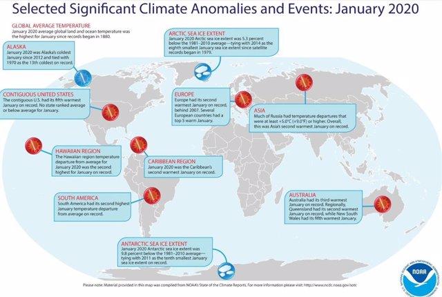 Enero de 2020 ha sido el más cálido desde 1880 tanto en tierra como en el océano
