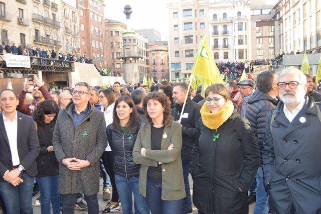 Mobilització d'agricultors a Lleida amb la presència de la consellera Teresa Jordà, el 14 de febrer del 2020.
