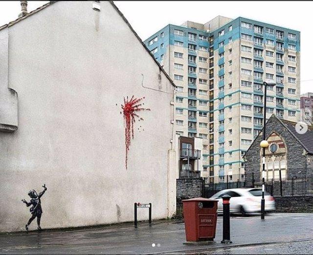 Fotografía del mural de Bansky realizado en Bristol publicada por el artista en su perfil de instagram