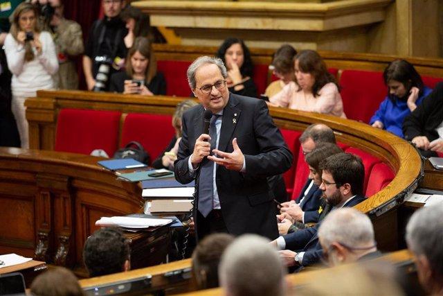 El presidente de la Generalitat, Quim Torra, interviene en una sesión plenaria en el Parlament de Cataluña, en Barcelona (Catalunya, España), a 12 de febrero de 2020.