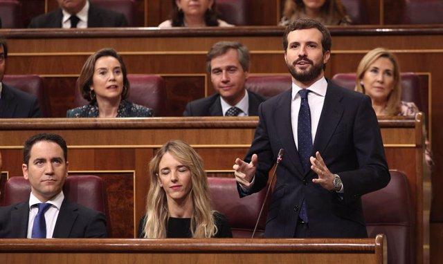 El presidente del PP, Pablo Casado, interviene en el turno de preguntas al presidente del Gobierno, Pedro Sánchez, en la primera sesión de control al Gobierno en la XIV Legislatura, en el Congreso de los Diputados, Madrid (España), a 12 de febrero de 2020