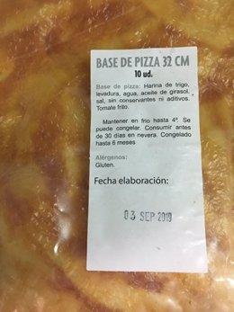 Bases y pizzas de la empresa 'pizzaragon'
