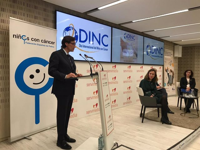 El ministro de Sanidad, Salvador Illa, durante su intervención en un acto organizado por la Federación de Padres de Niños con Cáncer con motivo del Día Internacional del Niño con Cáncer, que se celebra cada 15 de febrero